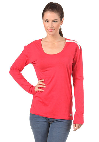 Womens Long Loose L/S T-Shirt red