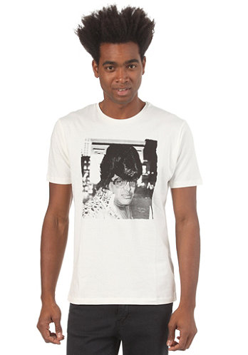 Americana O Neck S S T Shirt faded white elvis man