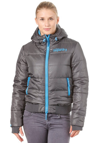 Womens Hooded Sports Puffer charcoal/turquoise