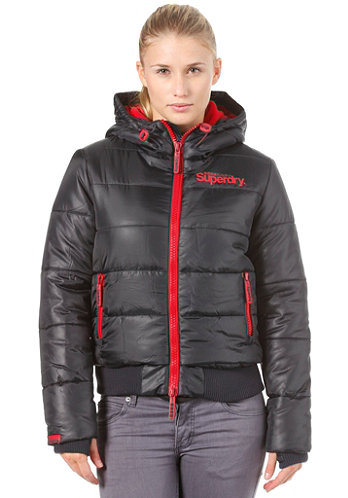 Womens Hooded Sports Puffer navy/cherry