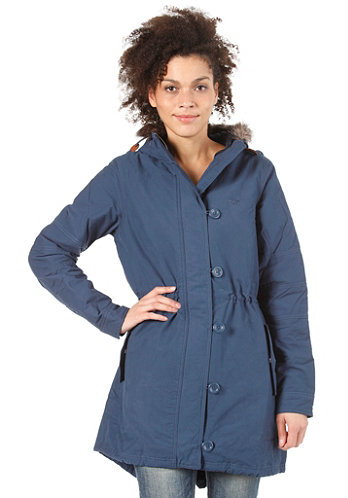 Womens Fur Woven Parka solid blue