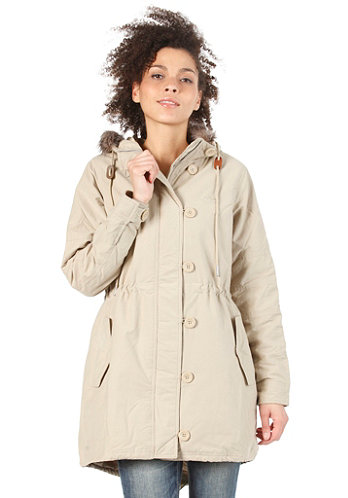 Womens Fur Woven Parka tech gold