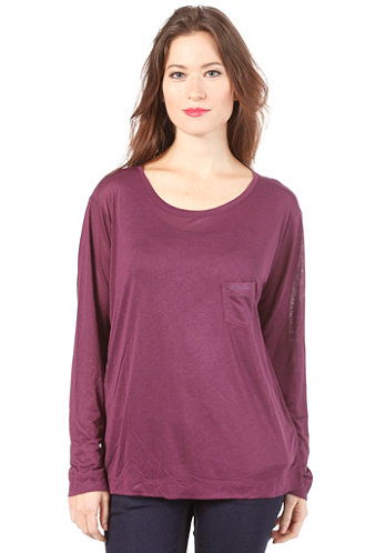 Womens Loose L/S T-Shirt black currant