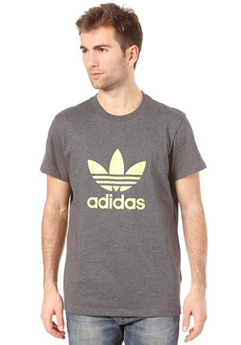 Adi Trefoil S S T Shirt dark grey heather electricity