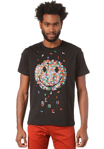 8 Bit Smiley S S T Shirt black