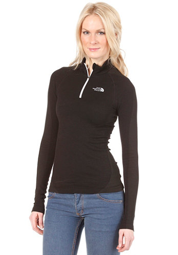 Womens Base Layer Hybrid Merino L/S Zip Neck Shirt tnf black