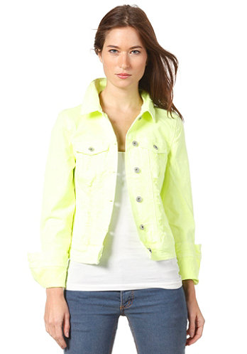 Womens Neon Denim Jacket safety yellow