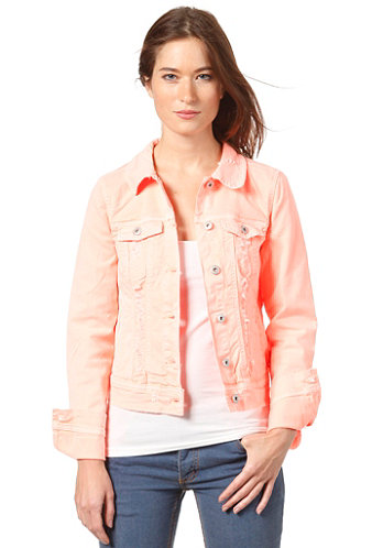 Womens Neon Denim Jacket neo coral