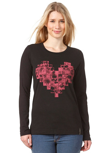 Womens Heart L/S T-Shirt black