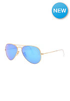 Aviator Large Metal Icons Sunglasses 55mm matte gold cry.green mirror multil.blu