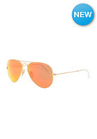 Aviator Large Metal Icons Sunglasses 55mm matte gold crystal brown mirror orange