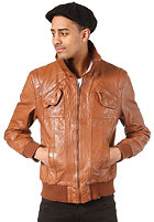 REVOLUTION CAN Leather Jacket cognac