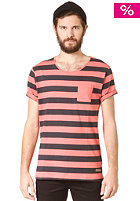 SELECTED Dave stripe S/S O Neck T-Shirt Spiced Coral