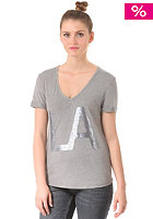 Womens Denni V-Neck S/S T-Shirt medium grey melange
