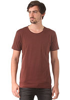 SELECTED Pima Dave Deep O-Neck S/S T-Shirt rum raisin