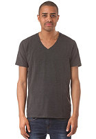 SELECTED Pima Drill Deep V-Neck S/S T-Shirt dark grey melange