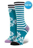 Womens Hula Flowers Socks sea blue