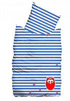 SUENOS Stripes and Owls Bedding Set 135x200/80x80cm azur blue