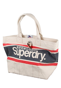 SUPERDRY Womens Brighton Tote Bag natural/dark navy