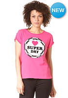 SUPERDRY Womens Super Me Pin Badge Boyfriend S/S T-Shirt punk pink