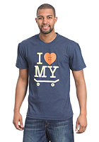 TRAP I Love My Skateboard S/S T-Shirt heather navy