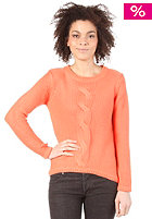 VILA Womens Cable Knit Sweat warm coral