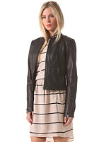 VILA Womens Massi Zip Leather Jacket black