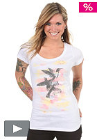 VOLCOM Womens Floral Haze Scoop S/S T-Shirt white