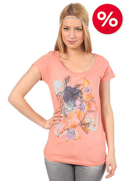 VOLCOM Womens Garden Of Birds Scoop S/S T-Shirt hot coral