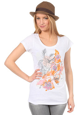 VOLCOM Womens Garden Of Birds Scoop  S/S T-Shirt white