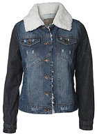 VOLCOM Womens Night Walks Denim Sherpa Jacket mid wash