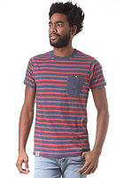 WEMOTO Blake S/S T-Shirt navy/red mel