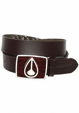 NIXON Enamel Icon Leather Belt dark wood