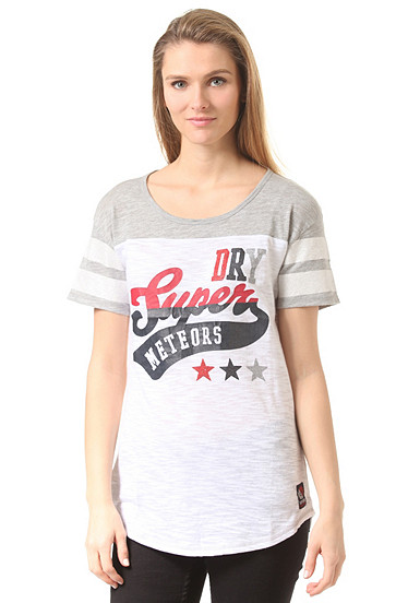 superdry super state all star baseball t shirt f r damen wei planet sports. Black Bedroom Furniture Sets. Home Design Ideas